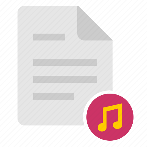 doc, document, file, music, note, sound icon