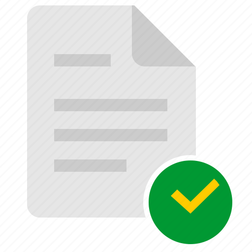 accept, complete, confirm, doc, document, file, ok icon