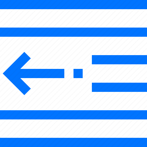 decrease, editor, indent, left, margin, pull, space icon