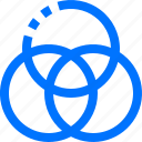 color, diagram, editor, venn icon