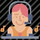 club, dj, female, musical, party icon