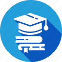 books, graduate, postgraduate, student icon