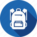 backpack, bag, book, school icon