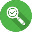 checkmark, done, explore, find, magnifier, search, success icon