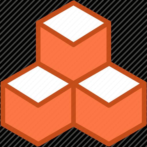 3d cube, cubes, model, molecule, shape icon