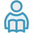 book, book reading, reading, student, student and book, study icon