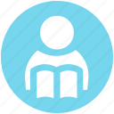 book, book reading, reading, student, student and book, study