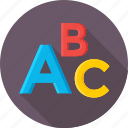 abc, alphabet, beginning english, english, english lesson icon