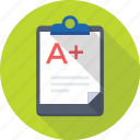 clipboard, document, grade sheet, result papers, result sheet icon