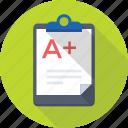 clipboard, document, grade sheet, result papers, result sheet