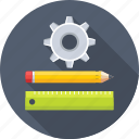 draft tools, gearwheel, geometry, pencil, ruler icon