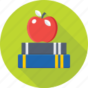 apple, books, learning book, nutrition, reading icon