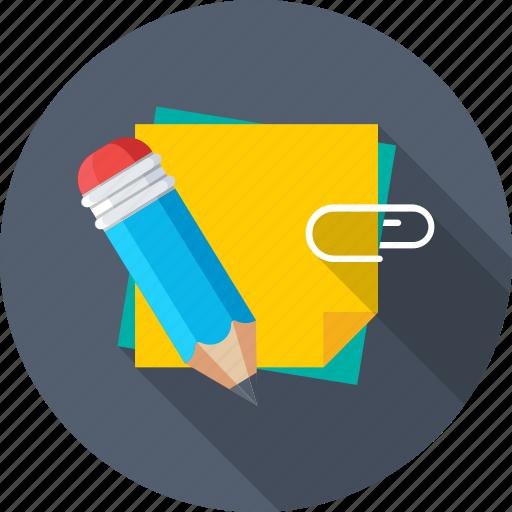attach paper, documents, paper, paper clip, pencil icon