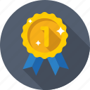 award ribbon, medal, prize, reward ribbon, ribbon badge icon