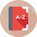 a to z, book, education, english book, study icon