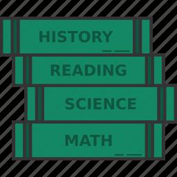 pile of books, school book stack, school books icon