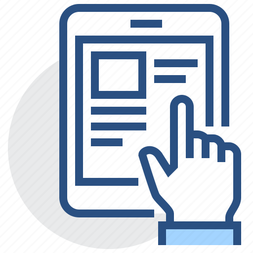 article, book, e-book, finger, hand, reading, touch icon