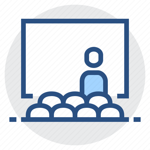 education, hall, learning, lecture, man, presentation, screen icon