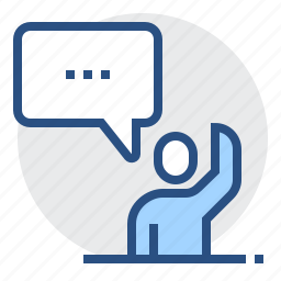 chat, hand, man, mentee, person, talk, up icon