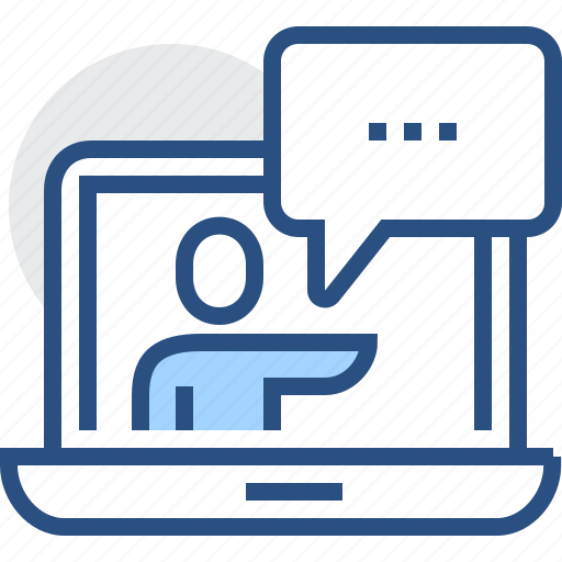 chat, internet, lectures, man, notebook, online, talk icon