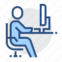 desk, student, user, workplace, man, office, operator icon