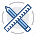 design, engineering, pen, pencil, ruler, tools icon