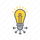education, idea, lamp, share icon