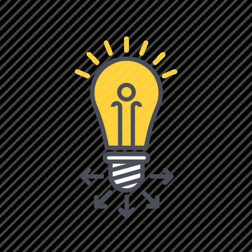 education, idea, lamp, share icon