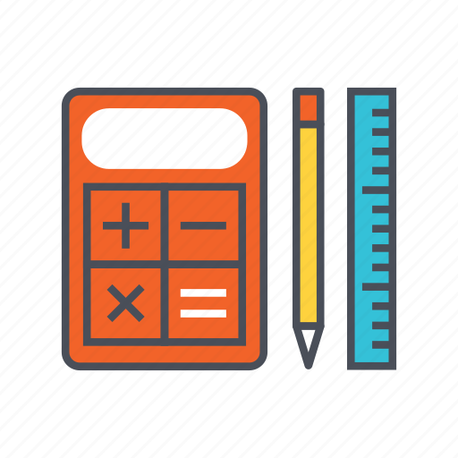 calculator, education, math, pencil, ruler icon