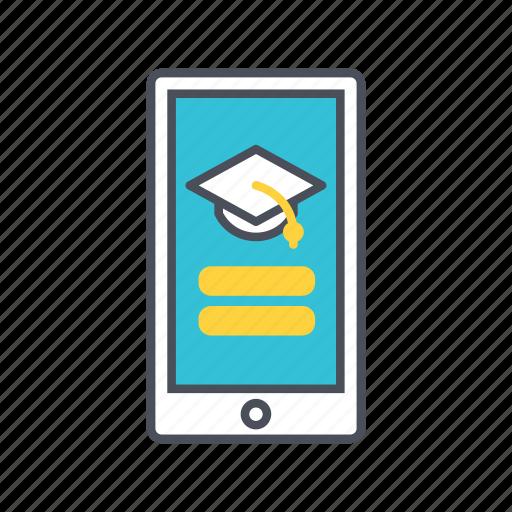 e-learning, education, mobile, phone icon