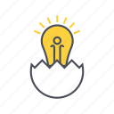 education, egg, idea, lamp icon