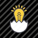 education, egg, idea, lamp icon
