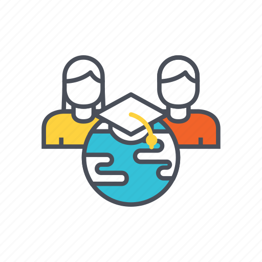 e-learning, education, global, group icon