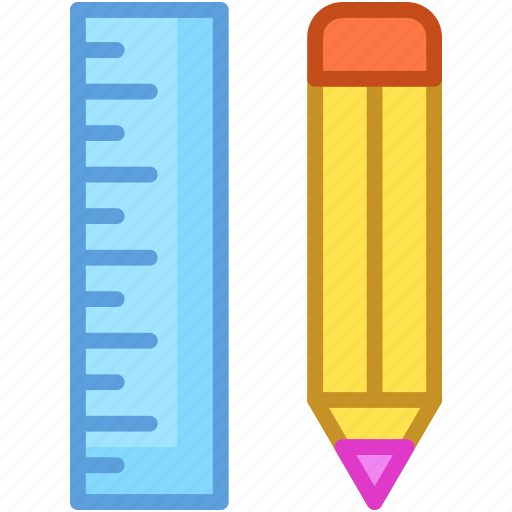geometry tools, measuring, pencil, ruler, scale icon