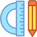 degree tool, drafting tool, geometry, pencil, protractor icon