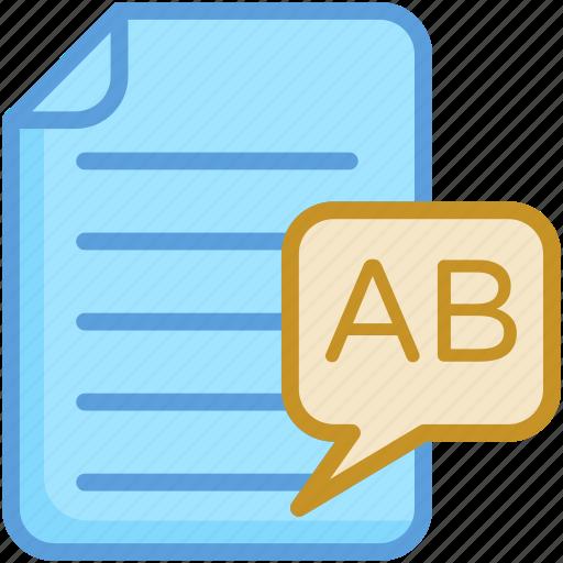 document, english, file, sheet, text sheet icon