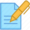 article, paper, pen, signature, writing icon