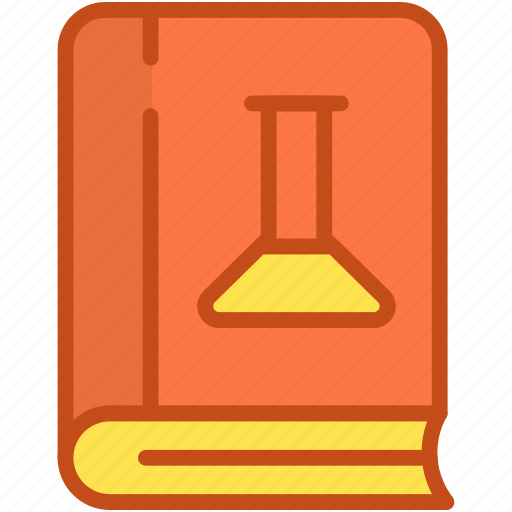 book, flask, knowledge, research book, science book icon