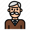 avatar, man, old, people, profile, teacher icon