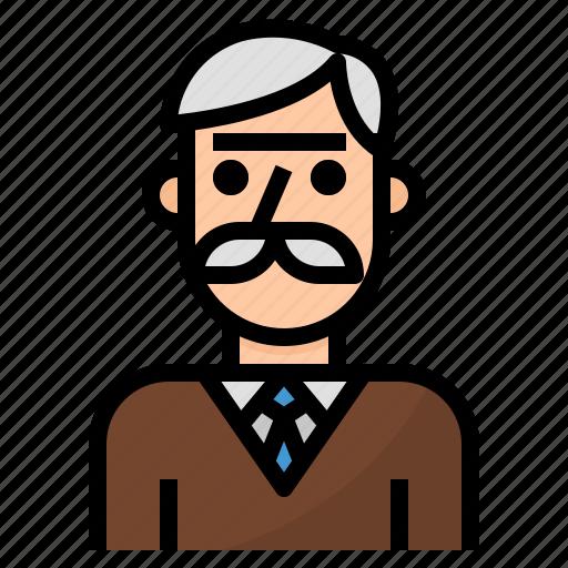 Avatar Man Old People Profile Teacher Icon