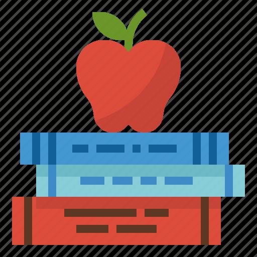 apple, book, education, library, school icon