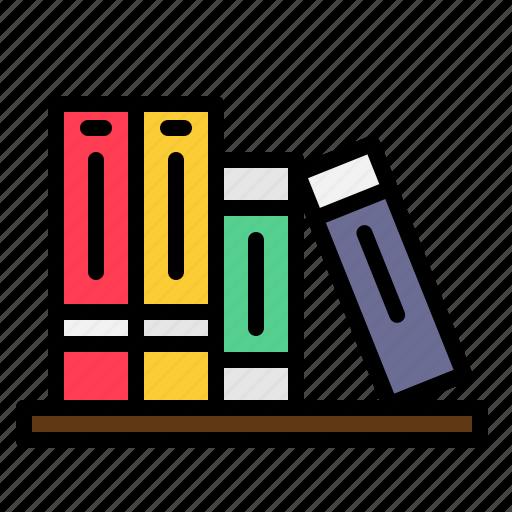 accessory, books, bookshelf, home, school icon