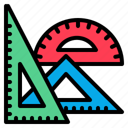 angle, drawing, education, geometrical, right, tools icon