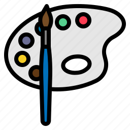 brush, graphic, painting, palette icon