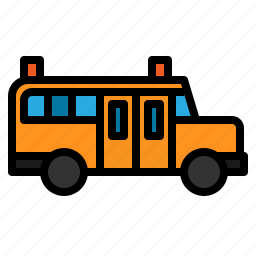 bus, education, school, transportation, travel icon