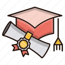 degree, education, graduation, hat, school, study icon