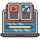 computer, education, material, online, school, study icon