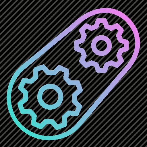 cog, cogs, cogwheel, gear, gears, process, setup icon