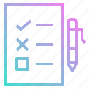 archive, document, education, exam, file, pen, test icon