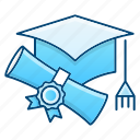 cap, diploma, education, graduation icon